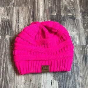 CC hot pink beanie
